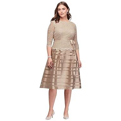 Davids Bridal Lace And Striped Organza Plus Size Midi Mother Of