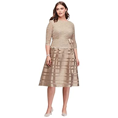 9b6cfdda13e Lace and Striped Organza Plus Size Midi Mother Of Bride Groom Dress Style.  - Yellow - 20  Amazon.co.uk  Clothing