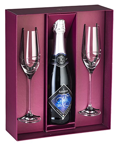 Barski - Handmade Glass - Set of 2 Champagne Flutes with Empty Space in the Center to Fit Your Own Bottle of Wine - Glasses Are Decorated with Real Swarovski Diamonds - Gift Boxed - Made in Europe (Champagne Boxed)