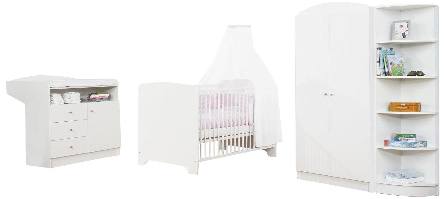 Pinolino 100090 - Kinderzimmer Jil, weiß, bestehend aus 2-türigem Kleiderschrank, Wickelkommode und Bett (ohne Textilien)