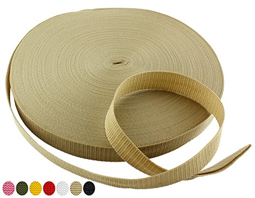 Army Tan Polypropylene Webbing 50 Yards x 1-inch; 1 Wide Beige / Khaki Polypro Strap Webbing Great w/ Camo; Great for Bags, Outdoor Gear; Collars, Leashes, Halters, Sporting Gear & More