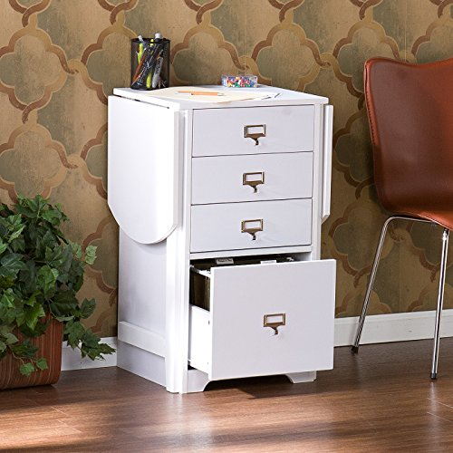 Credenza Desk/Vertical Filing Cabinet with 4 Drawers Made of PVC Veneer/Melamine/Paper and MDF in White Finish 31'' H x 48'' W x 15.75'' D in. by Wildon Home
