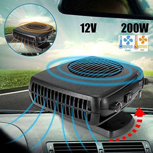 DEALPEAK Portable Car 2 in 1 Cooler & Heater Fan Vehicle Electronic Air Heater 12V 200W Car Windshield Heater Defogger Demister Defroster Plug Into Cigarette Lighter