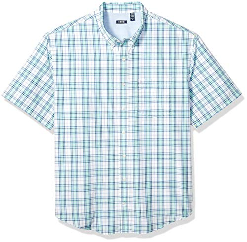 IZOD Men's Big and Tall Breeze Short Sleeve Button Down Plaid Shirt, Yucca, X-Large