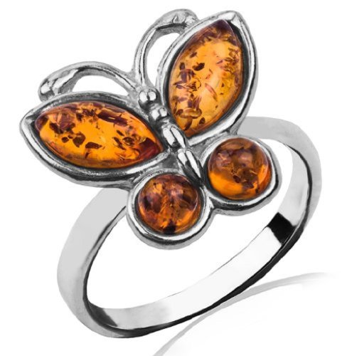 Honey Amber and Sterling Silver Butterfly Ring Sizes -