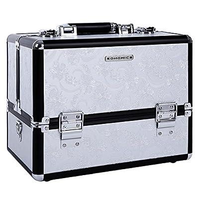 SONGMICS Professional Train Case PU Leather Makeup Box Lockable Cosmetic Storage Organizer