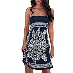 Lovely Shop Bohemiansexy Strapless Floral Casual Mini Beach Dress Beach Party Dress Sundress Vestidos Navy Blue M China