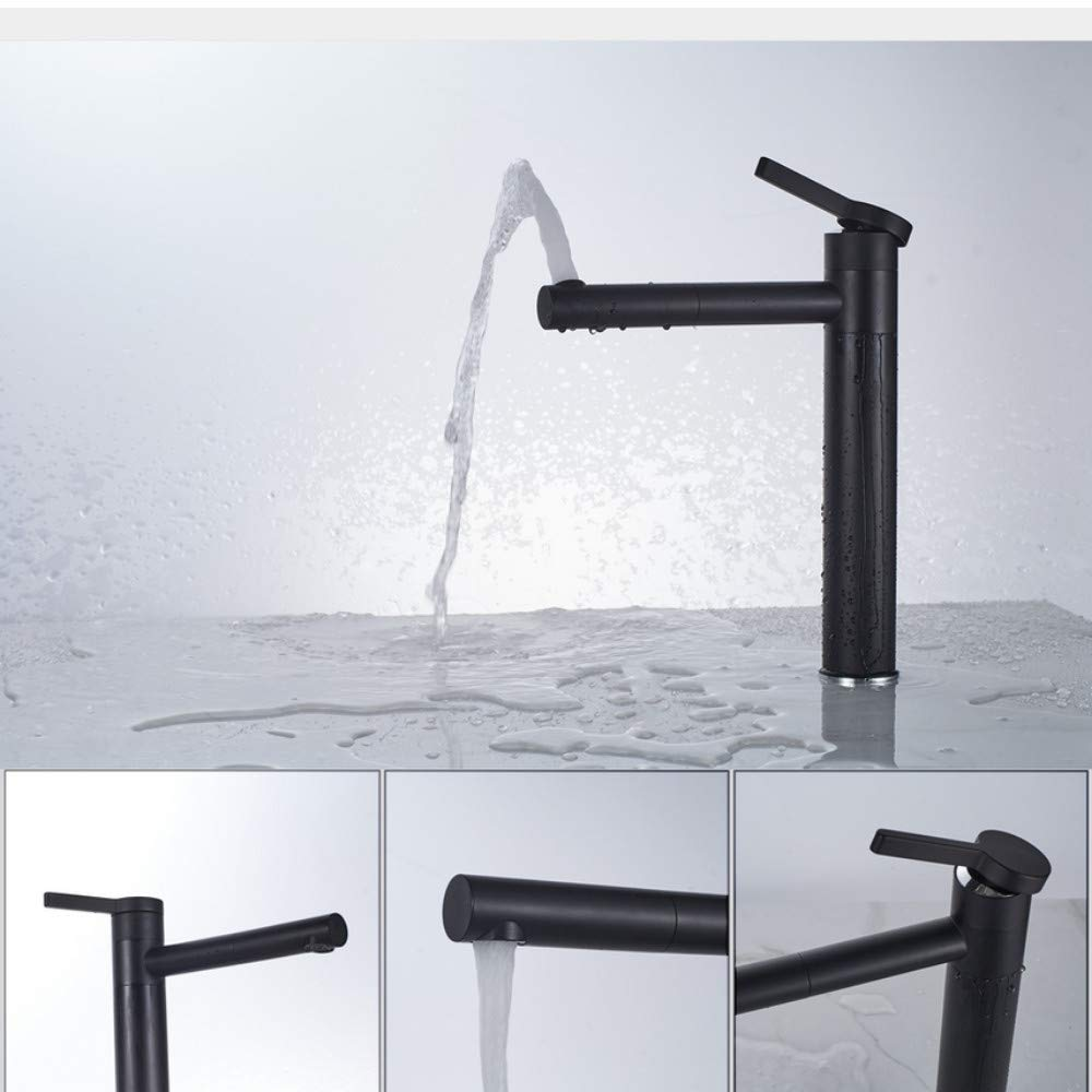 Lddpl High White Painting Basin Taps Bathrooms Crane with 360 redation Single Lever Hot Cold Water Tap
