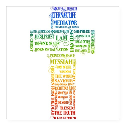 CafePress - Names of Jesus Cross Square Car Magnet 3