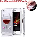 """""""2016 SOFT TPU Case"""" 3D Liquid Flow Wine Glass Cocktail Case Cover For iPhone 5/5S/5SE - 4""""- Red"""