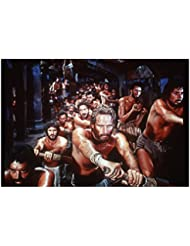 Charlton Heston 8 inch by 10 inch PHOTOGRAPH Planet of the Apes The Ten Commandments Ben-Hur from Waist Up Shirtless Rowing w/Many Others kn