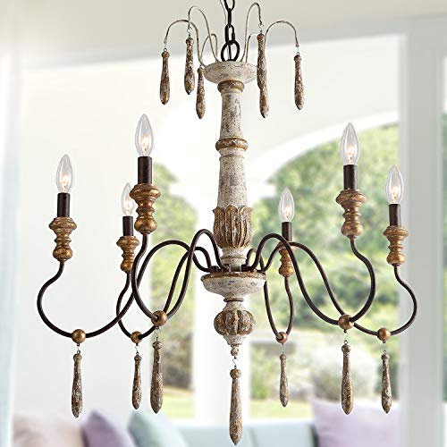LALUZ Farmhouse Wood Chandelier, 6 Handmade French Country Lighting for Dining, Living Room, Bedroom, Kitchen, A03485