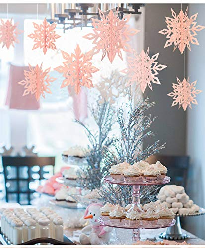 Sorive Christmas Party Decorations,12Pcs Holiday 3D Glittery Large Pink Snowflake Hanging Garland Flags -Christmas Winter Holiday New Year Party Home Decoration (Pink) -