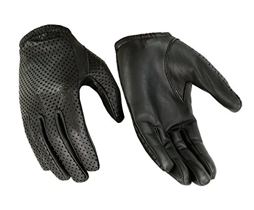 Black Driving Gloves - Hugger Glove Company Men's Air Pro Sport Motorcycle, Driving, Police Patrol Summer Glove Water Resistant Leather (XXXLarge, Black)