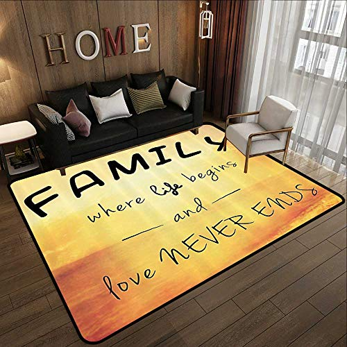 Throw Rugs,Family,Inspiring Message About Family Life and Love on Dreamy Backdrop Wisdom,Yellow Marigold Black 63