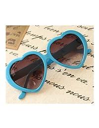 Cute Oversized Heart-Shaped Plastic Frame Retro Sunglasses Eyeglasses(Light Blue)