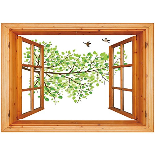 - 3D Depth Illusion Vinyl Wall Decal Sticker [ Hummingbird,Branch with Hummingbirds in Seasonal Vivid Colors Spring Freedom Nature,Green White Brown ] Window Frame Style Home Decor Art Removable Wall St
