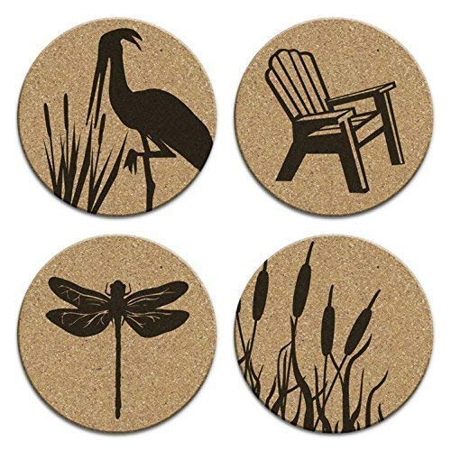 Crane Dragonfly Adirondack Chair Cattails Nautical Coastal Decor 4pc Cork Coaster Set