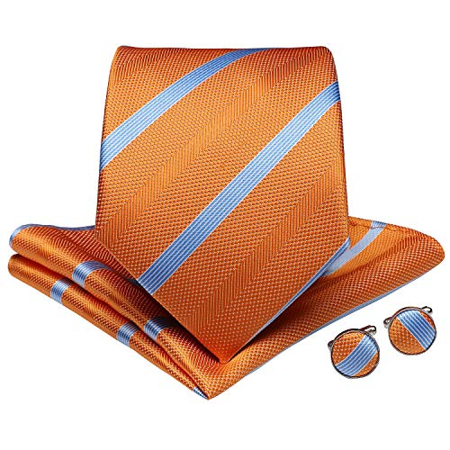 DiBanGu Men's Stripe Tie Silk Woven Necktie Pocket Square Cufflink Set Formal Business Prom (Orange)