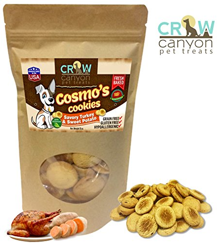Grain Free Dog Treats Gluten Free Savory Turkey & Sweet Potato Dog Biscuits Cookies Snacks Hypoallergenic All Natural Human Grade by Cosmo's Cookies Made in USA Only