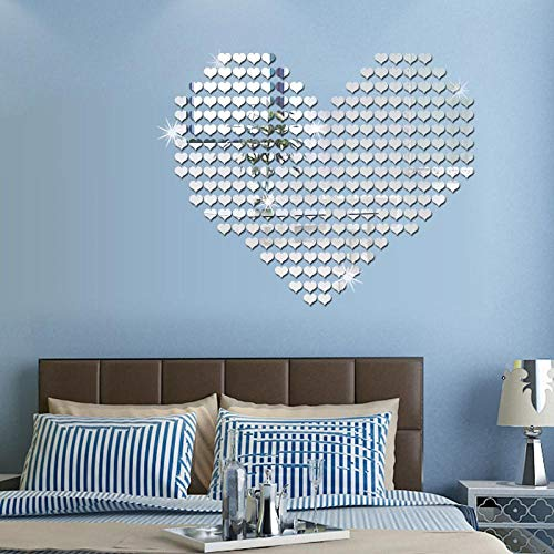 Creage33 Mosaic Effect Heart 3D 100PCS/Set Triangle Wall Sticker Mirror Home Decoration Round Square Promotional Silvery Heart