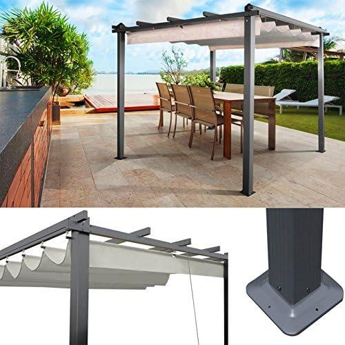 ProBache – Pergola Aluminio 3 X 3 M cenador con techo retráctil Écrue: Amazon.es: Jardín