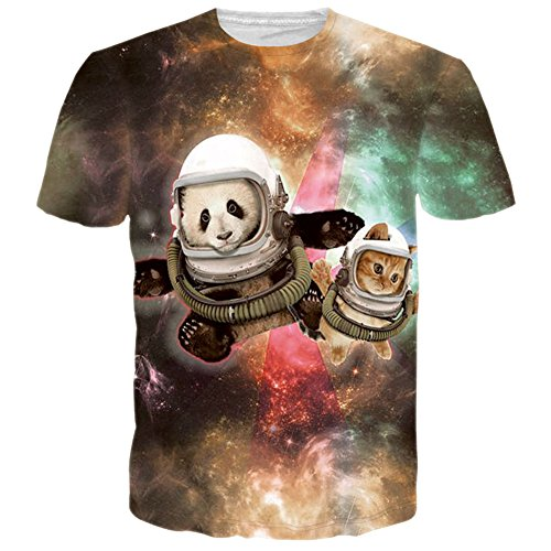 Raisevern Unisex Cute Space Panda Printed Hip Hop Style T-Shirts, Panda, Medium