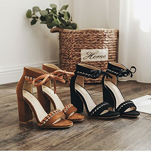 Dress Chunky Bowknot Fashion JULY Suede Womens Black Classic T Strap Ankle Pump Party Heel Ladies High Block Platform Slides XF0axtwq