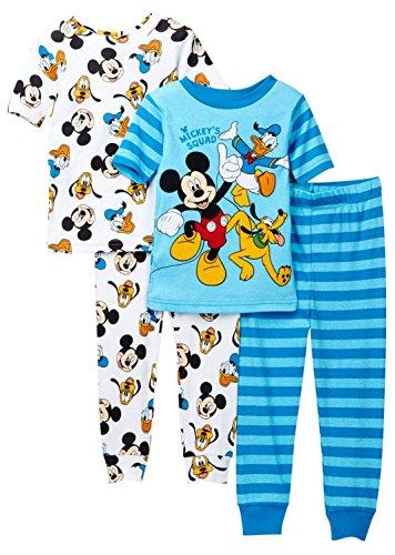 Disney Toddler Boys' Mickey Mouse 4-Piece Cotton Pajama Set, Blue Squad, 4T -