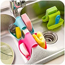 EQLEF® One Piece Saddle Style Double Sink Caddy Sink Kitchen Organizer Storage Sponge Holder - Color random