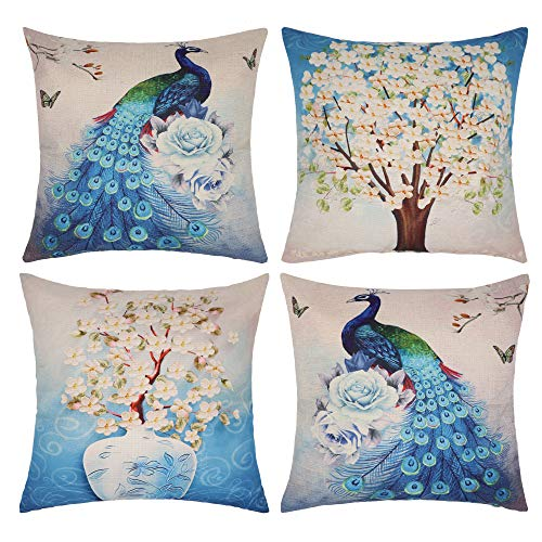 NAVIBULE Pack of 4 Blue Peacock and Trees Throw Pillow Covers Floral Decorative Teal Throw Pillows Cases Cushion Covers for Couch Sofa Car 18 x 18Inch (Sofa Covers Unique)