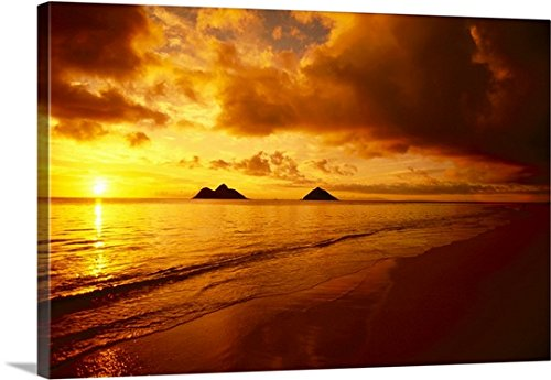 Dana Edmunds Premium Thick-Wrap Canvas Wall Art Print entitled Hawaii, Oahu, Lanikai Beach, Orange Sunrise Over Tranquil Ocean by Canvas on Demand