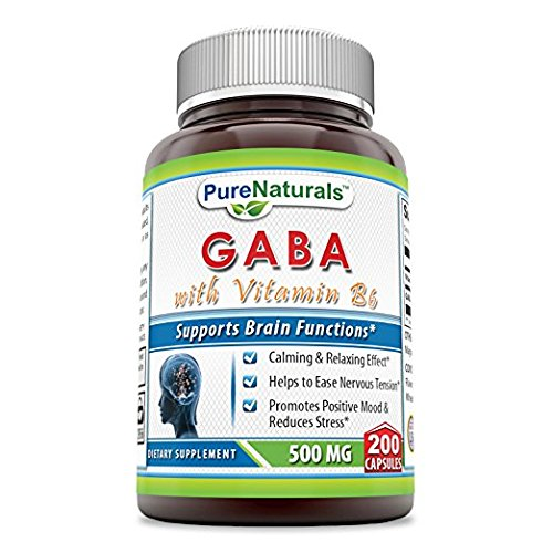 (Pure Naturals - GABA with Vitamin B6 Dietary Supplement - 500 Milligrams - 200 Capsules - Promotes Relaxation - Promotes a Positive Mood)