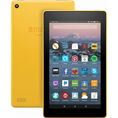 """Fire 7 Tablet with Alexa, 7"""" Display, 8 GB, Canary Yellow - with Special Offers by Amazon"""