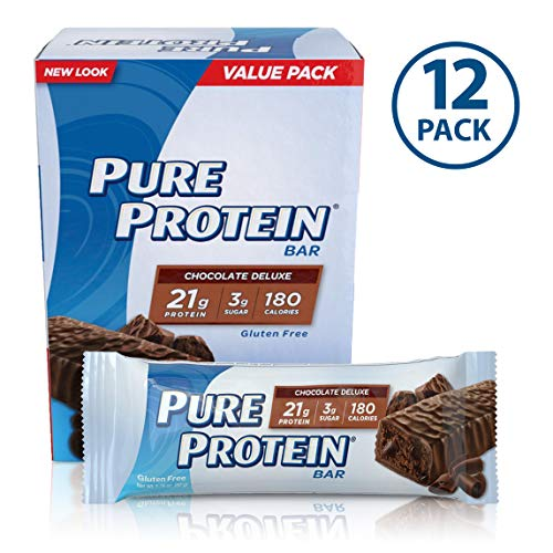 Pure Protein Bars, High Protein, Nutritious Snacks to Support Energy, Low Sugar, Gluten Free, Chocolate Deluxe, 1.76oz, 12 Pack