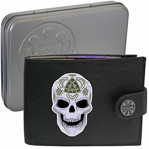 Celtic Skull Death Keltischer Totenkopf Tod Klassek Herren Geldbörse Portemonnaie Brieftasche Kelten Druiden aus echtem Leder schwarz Geschenk Präsent mit Metall Box