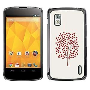 Be Good Phone Accessory // Dura Cáscara cubierta Protectora Caso Carcasa Funda de Protección para LG Google Nexus 4 E960 // Tree Art Fruitful Red Bush Red Autumn