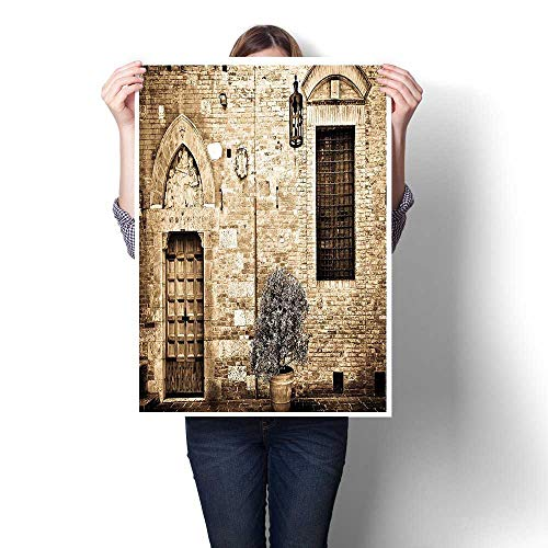 (Oil Painting on Canvas Prints,Decor Antique Doorway to Stone House in Italian Mediterranean Culture Scenery Beige Oils,Wall Art,16