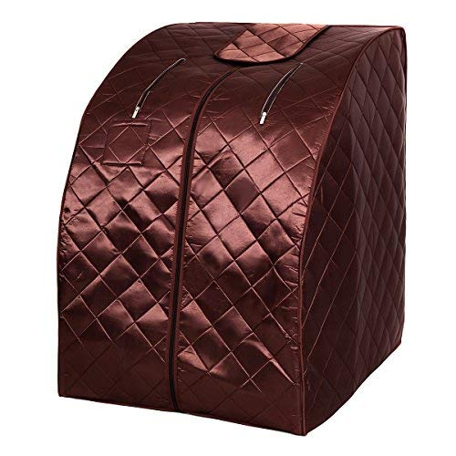 Giantex Portable Far Infrared Spa Sauna Full Body Slimming Weight Loss Negative Ion Detox Therapy in Home Personal Sauna w/Heating Foot Pad and Folding Chair (Coffee)