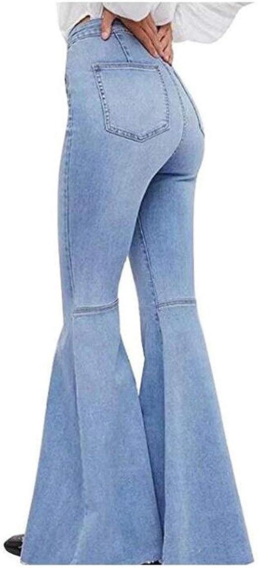 女性の ド蝶コーテ スリムスピーカーファッションジーンズフレアパンツウエストゴムブラッシュ いシェイプ