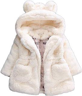 Esponjoso Piel Sintética Chaqueta para Niñas Abrigo con Capucha De Invierno Oreja Grande…