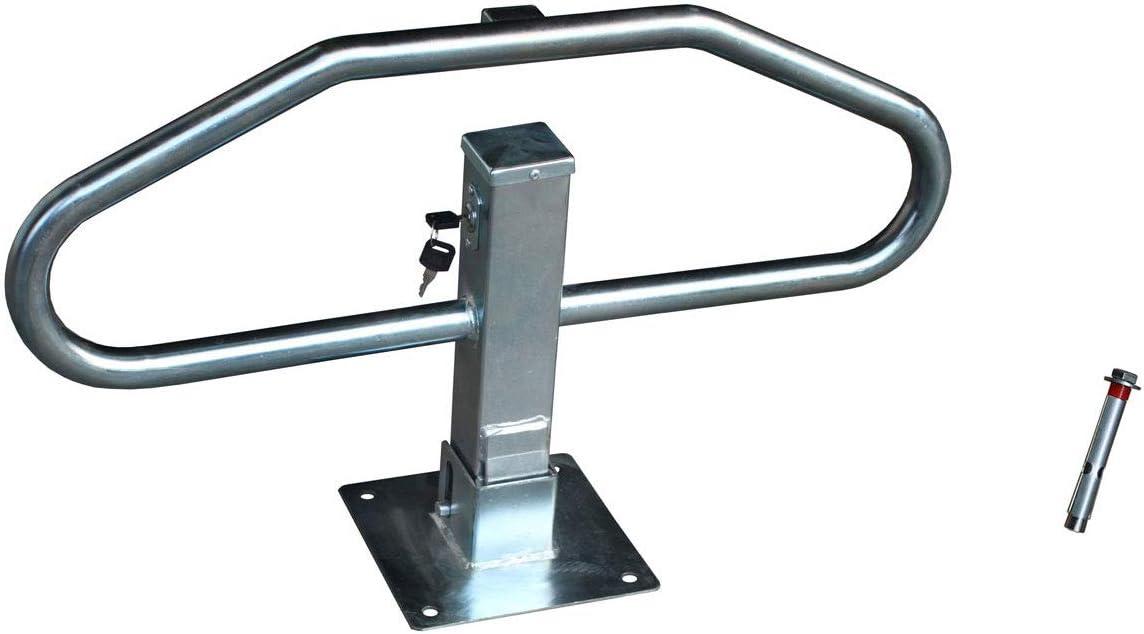 Barrera parking abatible manual con cerradura para bloqueo aparcamiento. Bolardo protección plegable para coche (1- Barrera + Tornillería)