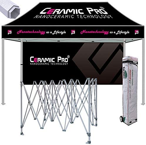 Eurmax Premium 10×15 Ez Pop up Printed Canopy, Trade Show Custom Tent, Event Canopy with Printed Backwall Bonus Roller Bag