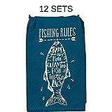 Kay Dee Designs R3907 Lake Retreat Fishing Rules Flour Sack Towel (12 Sets)