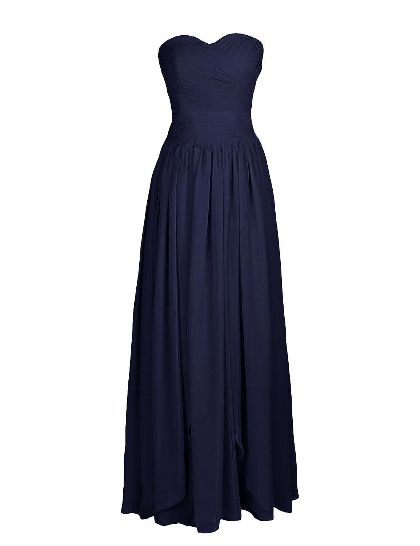 Dressystar Sweetheart Long Chiffon Dresses Lace Up Back Pleated Evening Dresses