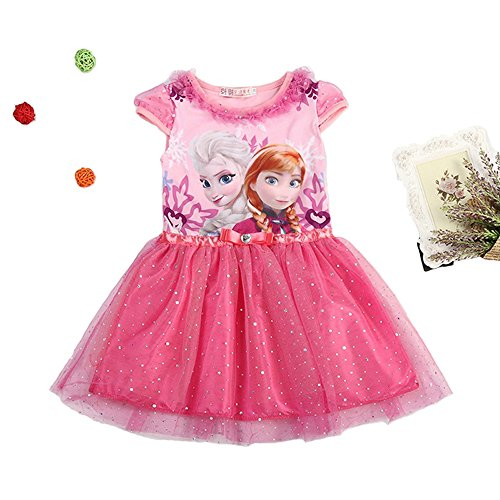 MIQI Girls Princess T-Shirt Dress Short Sleeve Puffy Swing Casual Party Dress 3 Years Old (Frozen Dresses For Toddlers)