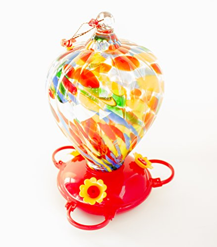 Best Colorful Red Glass Hummingbird Feeder With 3 Nectar Flowers in Beautiful & Unique Design - Holds 32oz of Nectar! Great Gift for Hummer Lovers! 100% Satisfaction - Valley View Stores Mall At