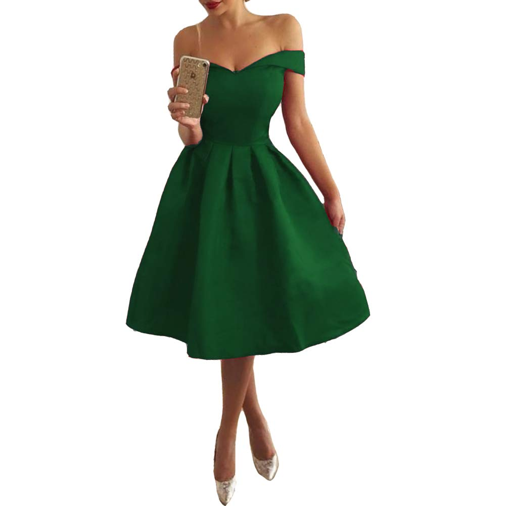 Emerald Green Lemai Short Satin Off The Shoulder Simple Corset Prom Homecoming Dress with Sash