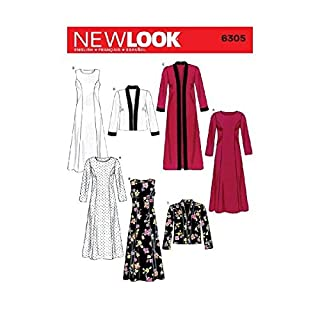 New Look Sewing Pattern 6305 Misses Dresses, Size A (10-12-14-16-18-20-22)