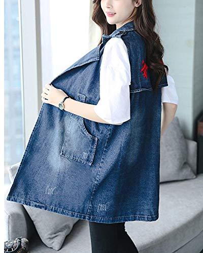 Autunno Jacket Eleganti Casual Giovane Donna Jeans Primaverile Ricamo Fashion Baggy Gilet Smanicato Denim Vintage Blu Women Cappotto Bavero Lunga 4qaddwI